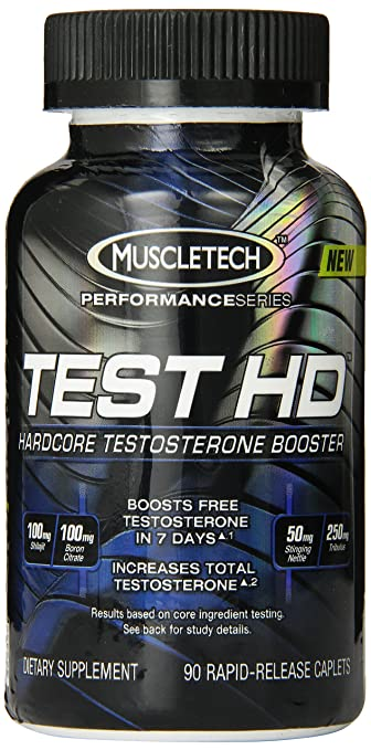 MuscleTech Test HD, Hardcore Testosterone Booster, 90 Rapid-Release Caplets