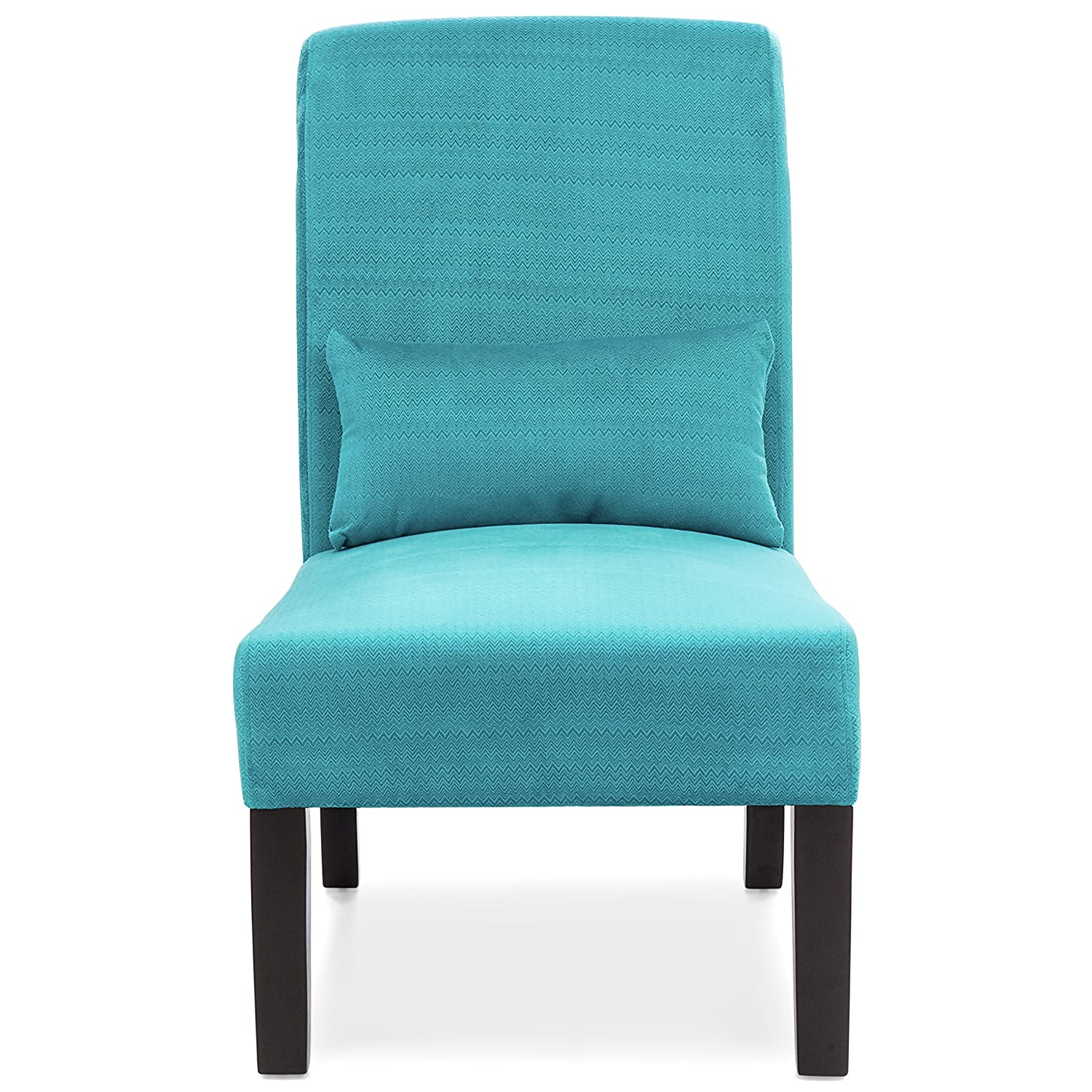 Best Choice Products Fabric Armless Accent Chair w Lumbar Pillow Teal