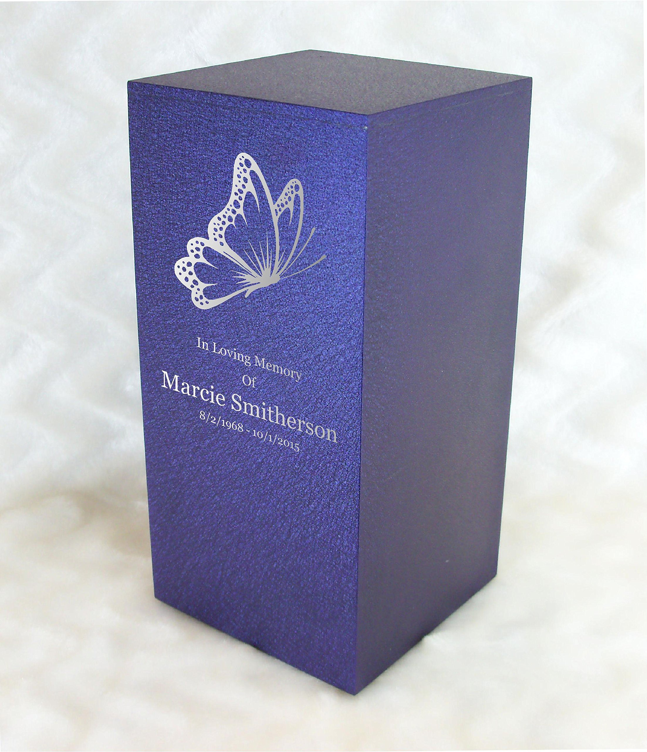 PERSONALIZED Custom Engraved Butterfly Cremation Urn Vault by Amaranthine Urns, made in America in the USA, Eaton DL (up to 200 lbs living weight) (Purple Velvet) by Amaranthine Urn Company