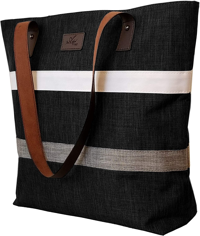 Womens Leather Top Handle Shoulder Handbag Umbrella Large Work Tote Bag