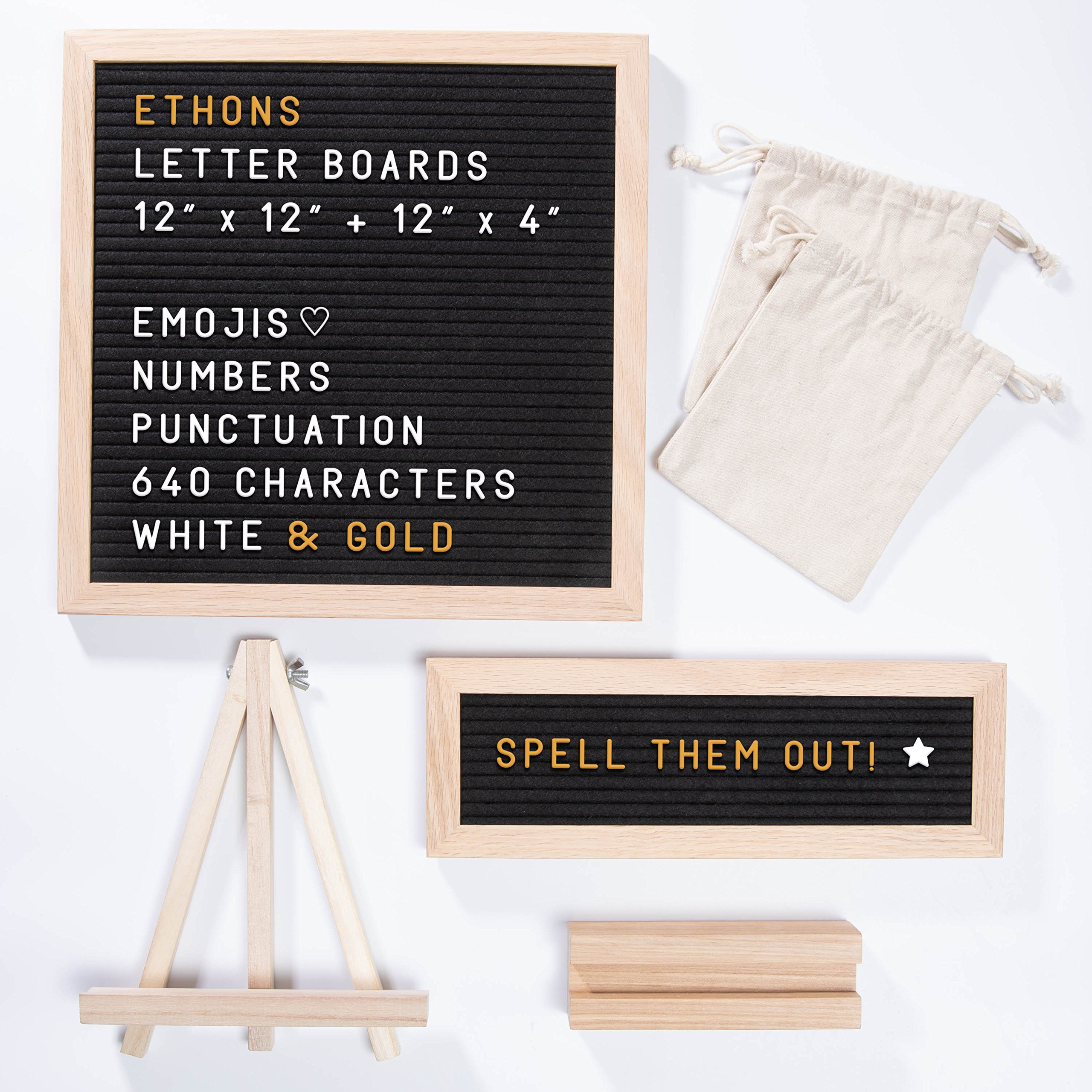 """ETHONS Felt Letter Board Super Pack - 2 Quality Letter Boards 12""""x12"""" & 12""""x4"""" - Personalize with 640 Characters in White & Gold - Gift-Ready Display Boards - Includes 2 Wood Stands and 2 Canvas Bags"""
