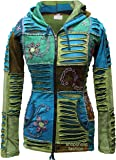 Blue Mix flower embroidery pixie hooded razor cut ethnic hippy hoody boho jacket
