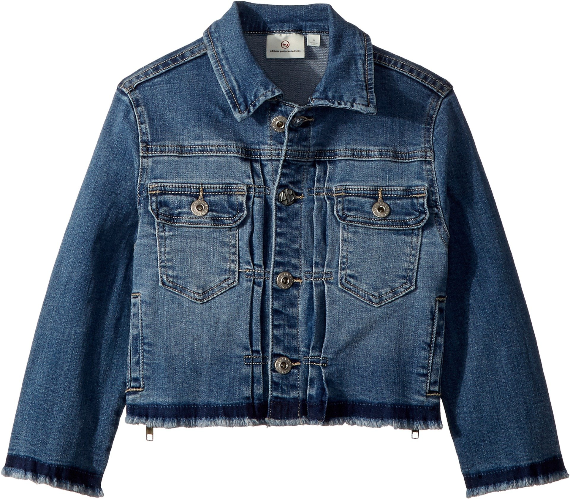 AG Adriano Goldschmied Kids Girl's Daize Zipper Crop Jacket (Big Kids) Jewel Blue Large