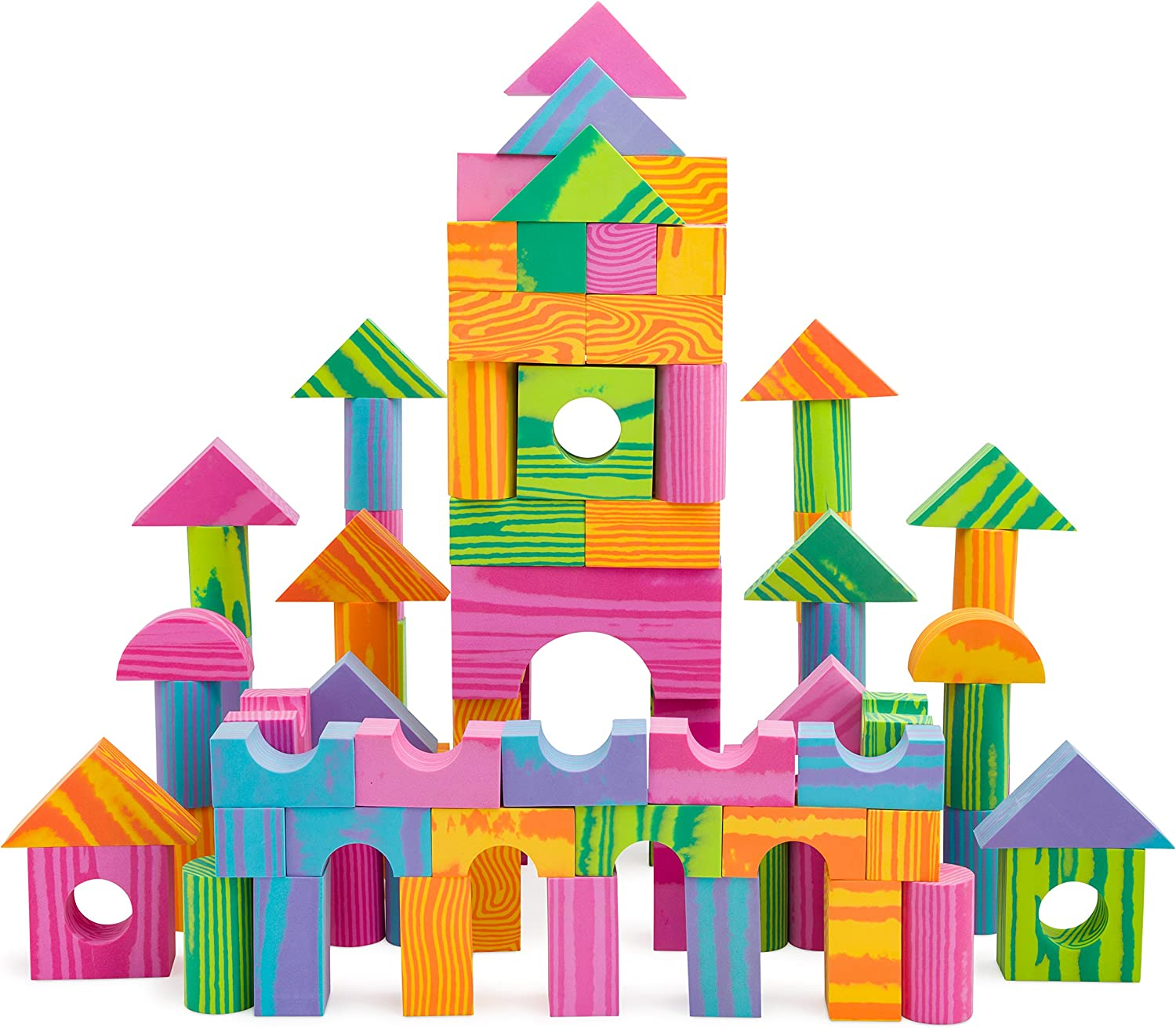 Morvat Foam Block Set- 140 Piece Soft Multi-Colored Building Blocks Educational Stacking Blocks, Foam Building Blocks for Kids - Non-Toxic & BPA Free - Great Bath Toys for Babies and Toddlers