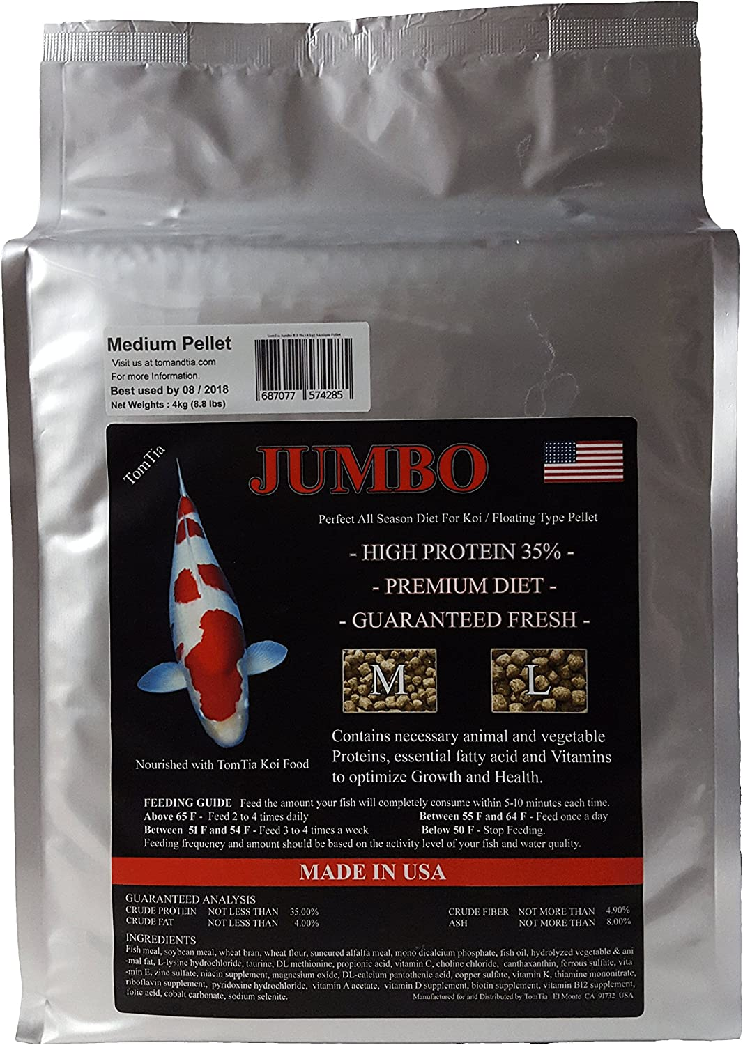 TomTia Jumbo Koi Food Medium Pellet 8.8 lbs Pond Koi Goldfish