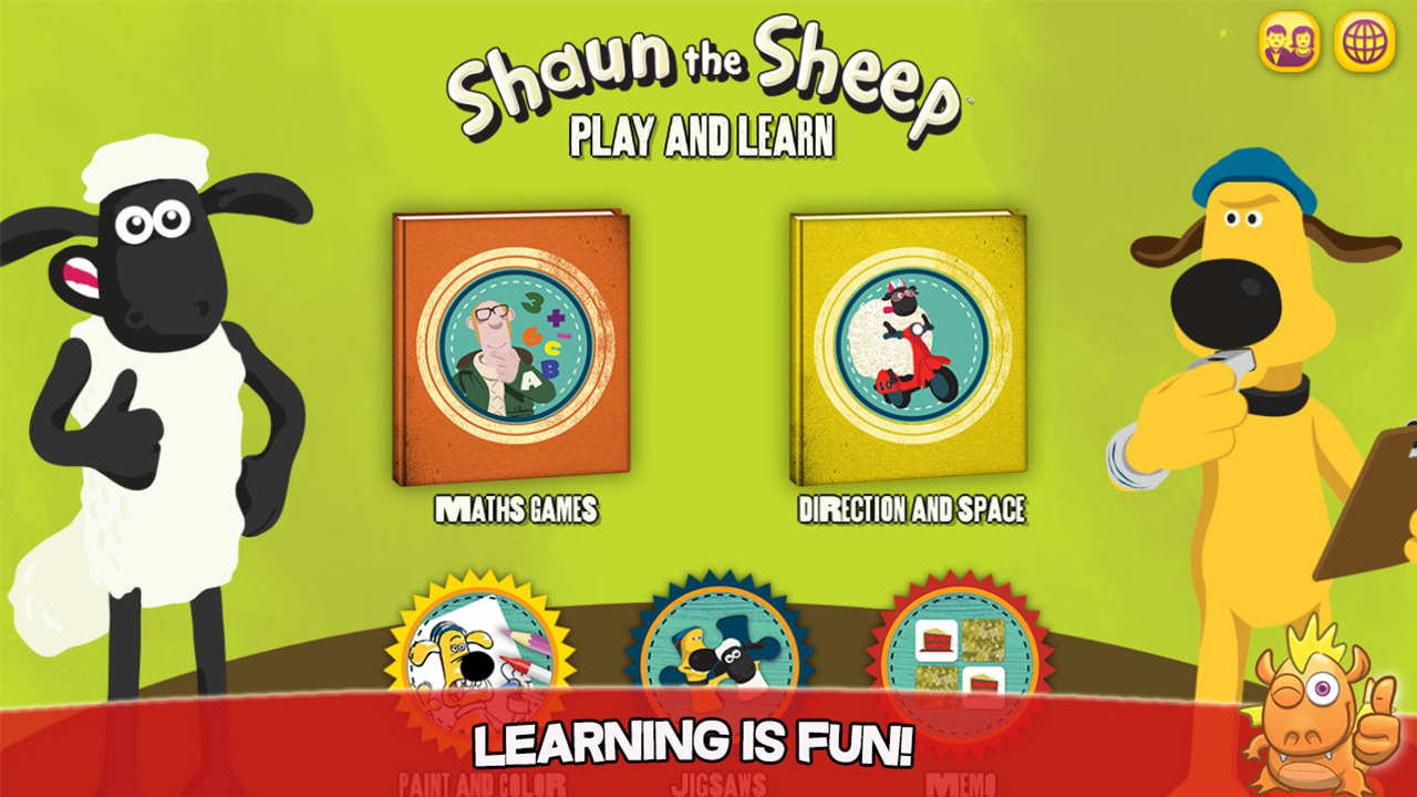 Shaun Learning Games For Kids; Maths, Space, Memory