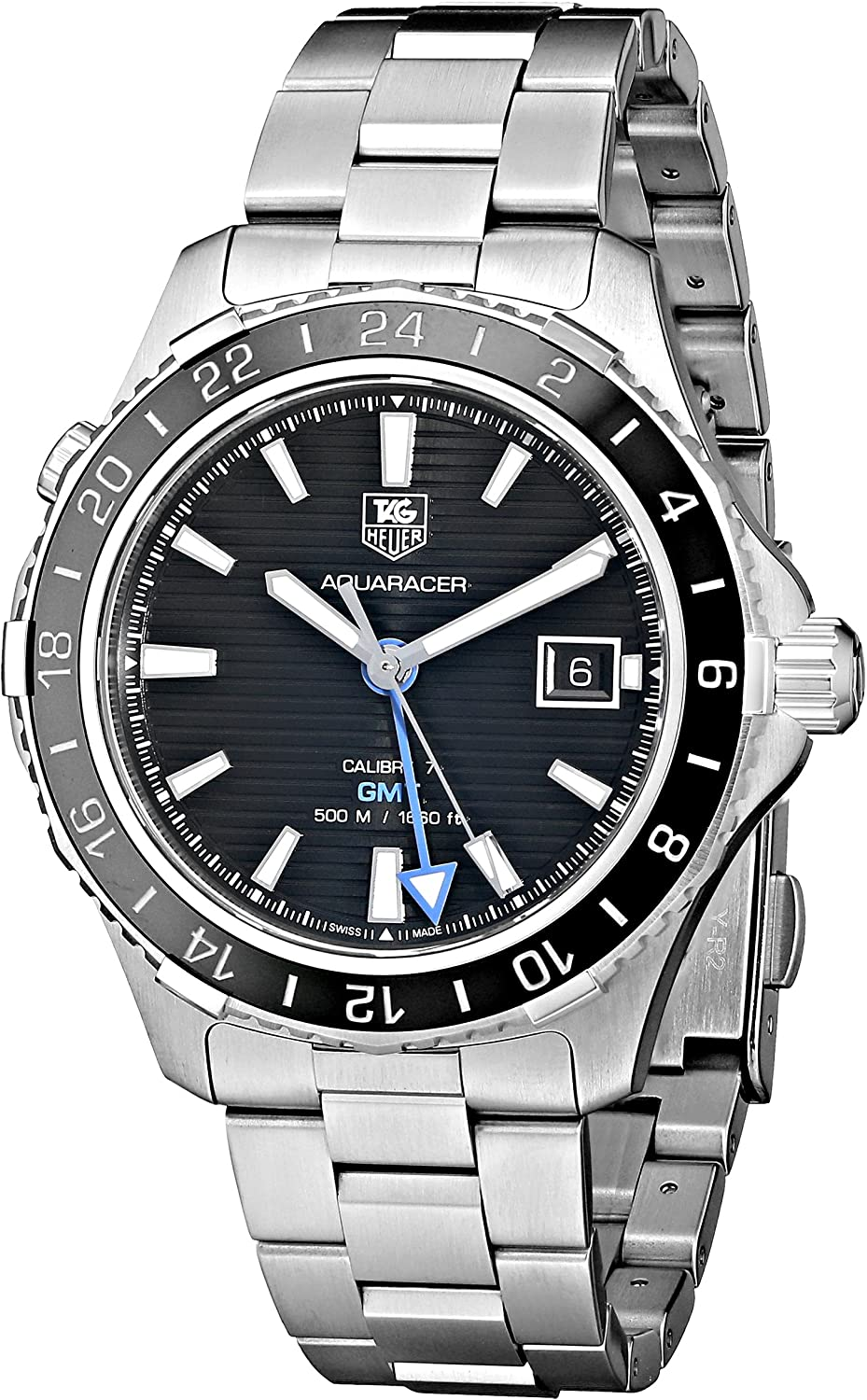 TAG Heuer Men s WAK211A.BA0830 Ceramic Calibre Analog Display Swiss Automatic Silver Watch