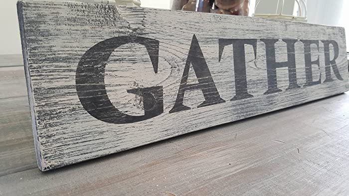 gather wood sign dining room sign kitchen decor rustic wood sign distressed