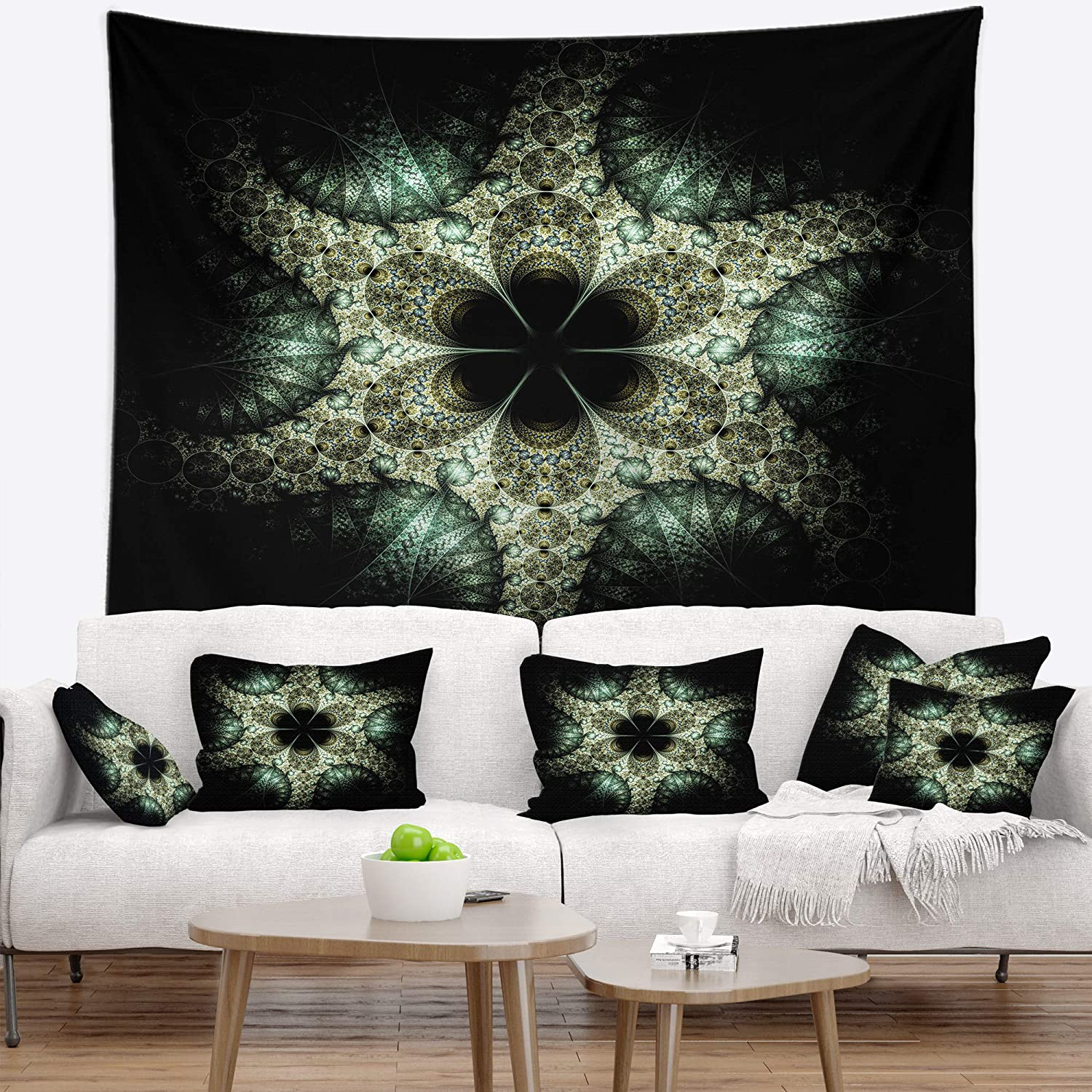 Designart TAP16459-60-50  Yellow and Green Fractal Flower Abstract Blanket D/écor Art for Home and Office Wall Tapestry Large 60 in x 50 in Created On Lightweight Polyester Fabric