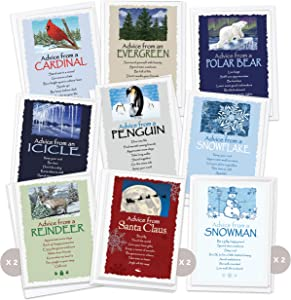 Advice from Nature Greeting Card Holiday Set - 2X REINDEER, 2X SNOWMAN, 2X SANTA CLAUS, SNOWFLAKE, CARDINAL, ICICLE, PENGUIN, POLAR BEAR, EVERGREEN by Your True Nature