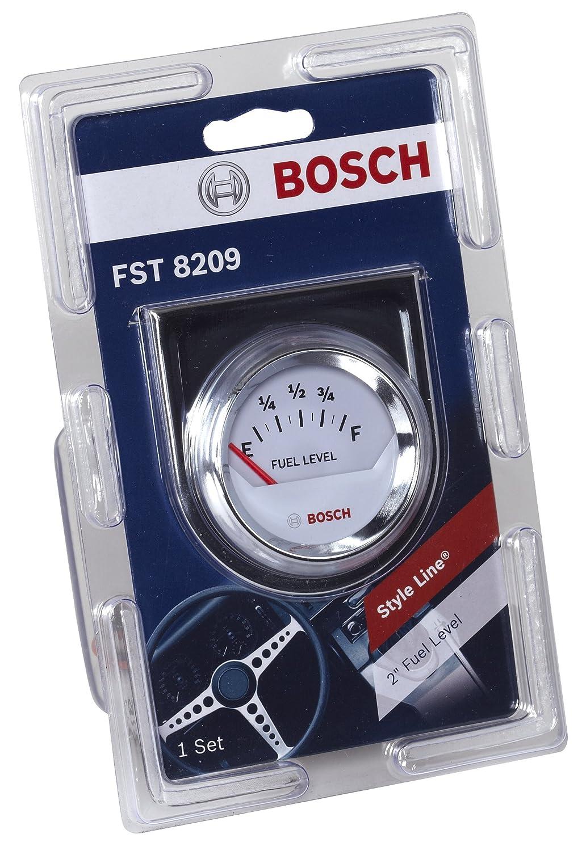 """Amazon.com: Bosch SP0F000048 Style Line 2"""" Electrical Fuel Level Gauge  (White Dial Face, Chrome Bezel): Automotive"""