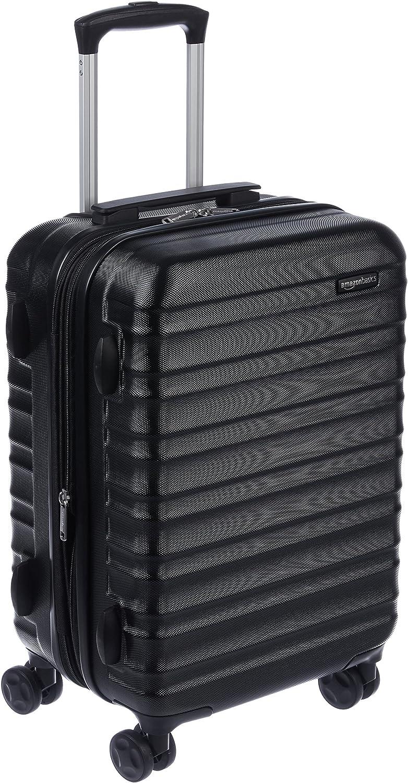 AmazonBasics - Maleta de viaje rígida giratoria - 55 cm, Tamaño de cabina, Negro