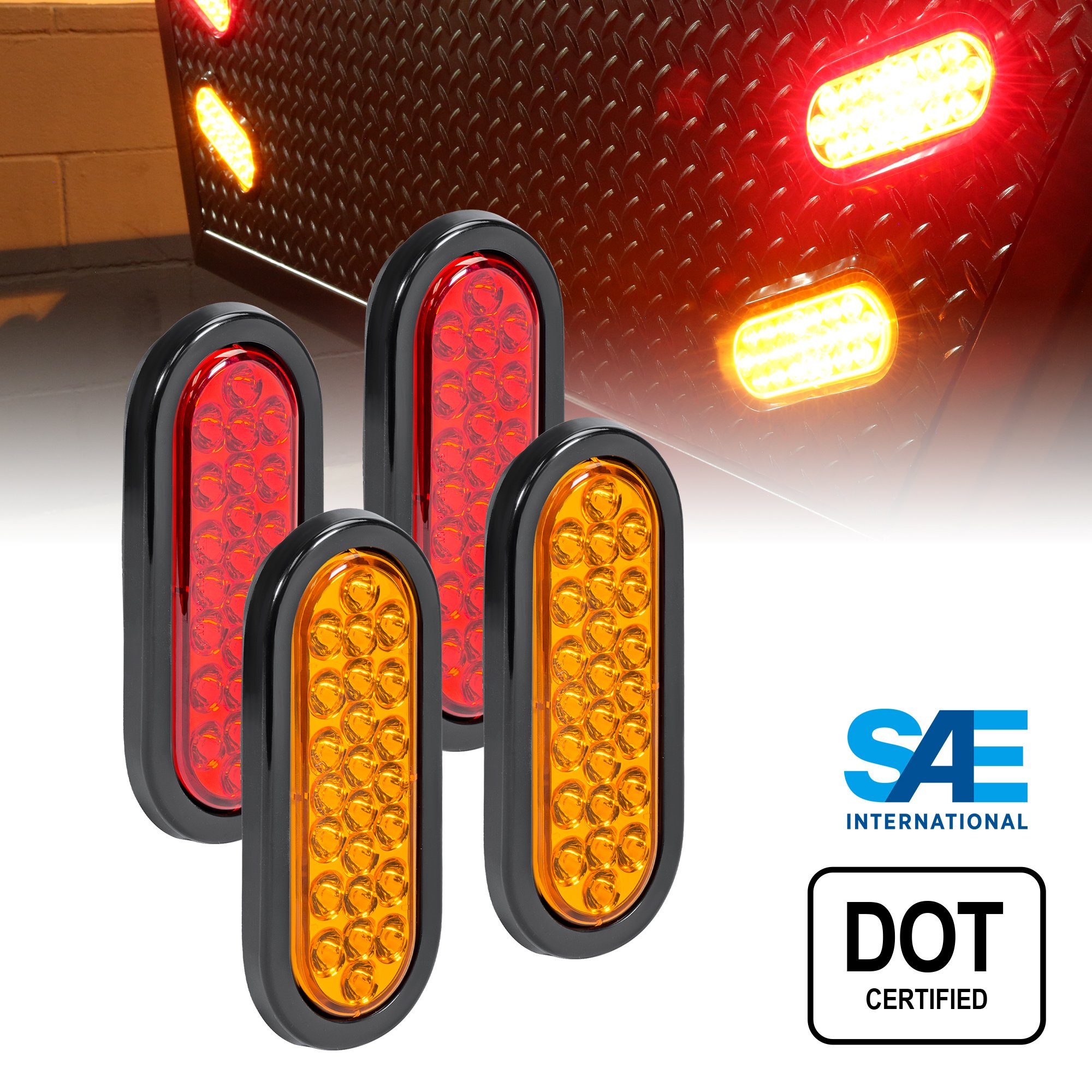 2 AMBER + 2 RED 6'' Oval (24) LED Trailer Tail Light Kit - DOT Certified STOP TURN BRAKE Tail Light