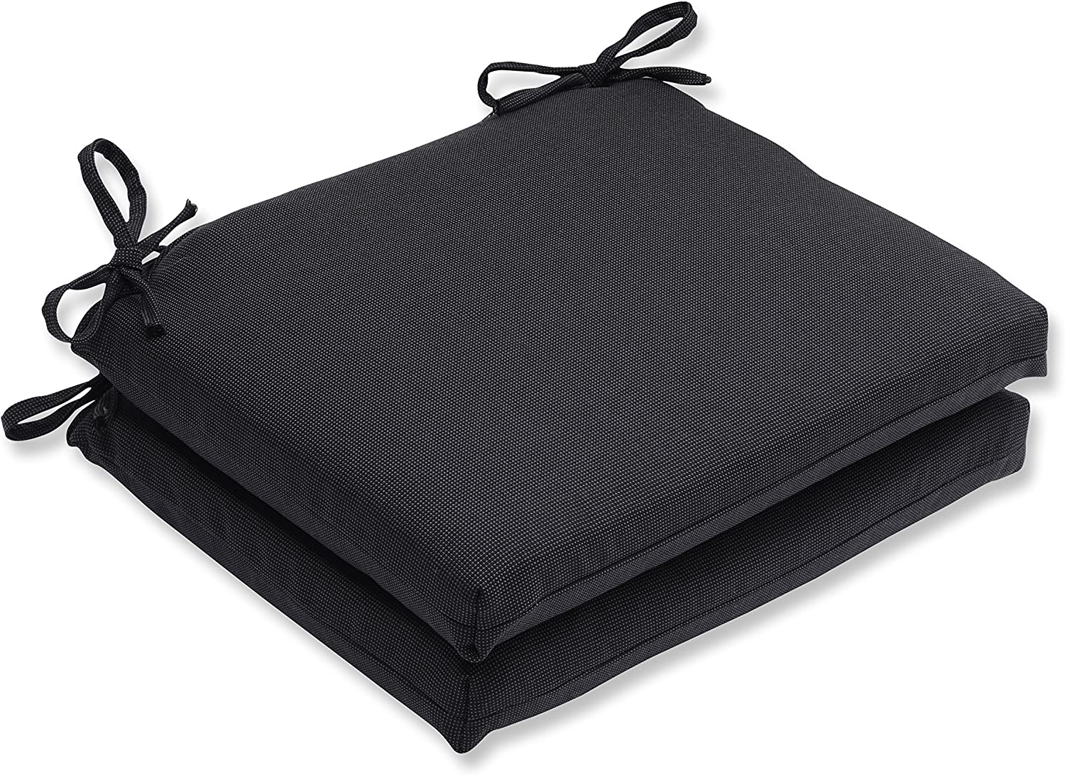 Pillow Perfect Outdoor Indoor Tweed Squared Corners Seat Cushion Set of 2 , Black