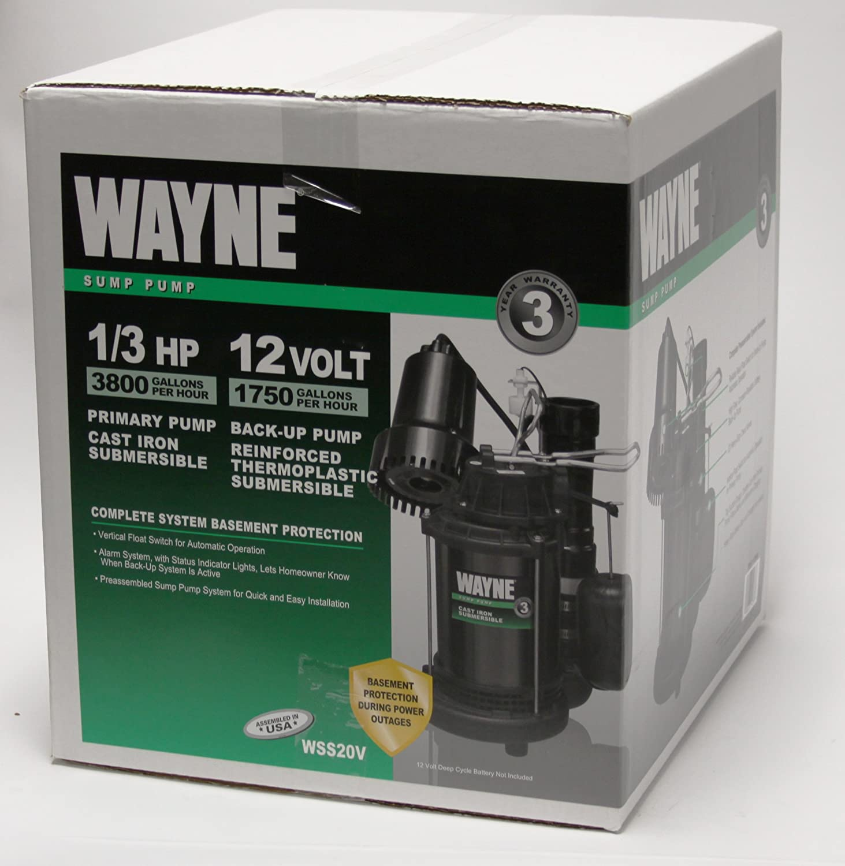 WAYNE WSS20V Pre-Assembled 120 V//12V 1//3 HP Primary and Battery Backup Combination Sump Pump System