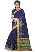 Royal Export Women's Cotton Silk Saree (Blue Elephant)