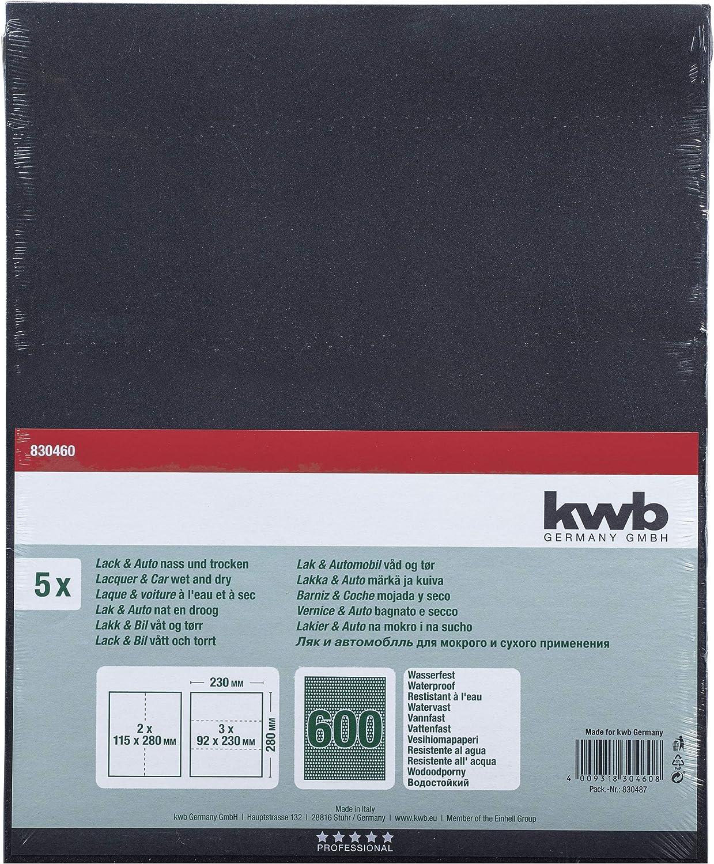 fabriqu/é en Europe. kwb 830408 Lot de 5 feuilles de papier abrasif imperm/éable pour verre carrosserie et peinture 230 x 280 mm Korn K-80 pierre m/étal