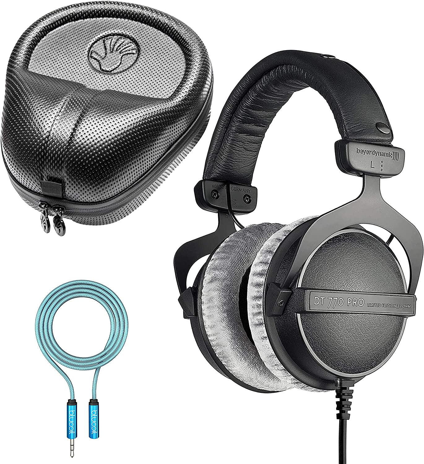 Beyerdynamic DT 770 PRO 32 Ohm Closed Back Headphones for Smartphones, Laptops, Computers Bundle with Full-Sized HardBody Pro Headphone Case, and Blucoil 6-FT Headphone Extension Cable (3.5mm)