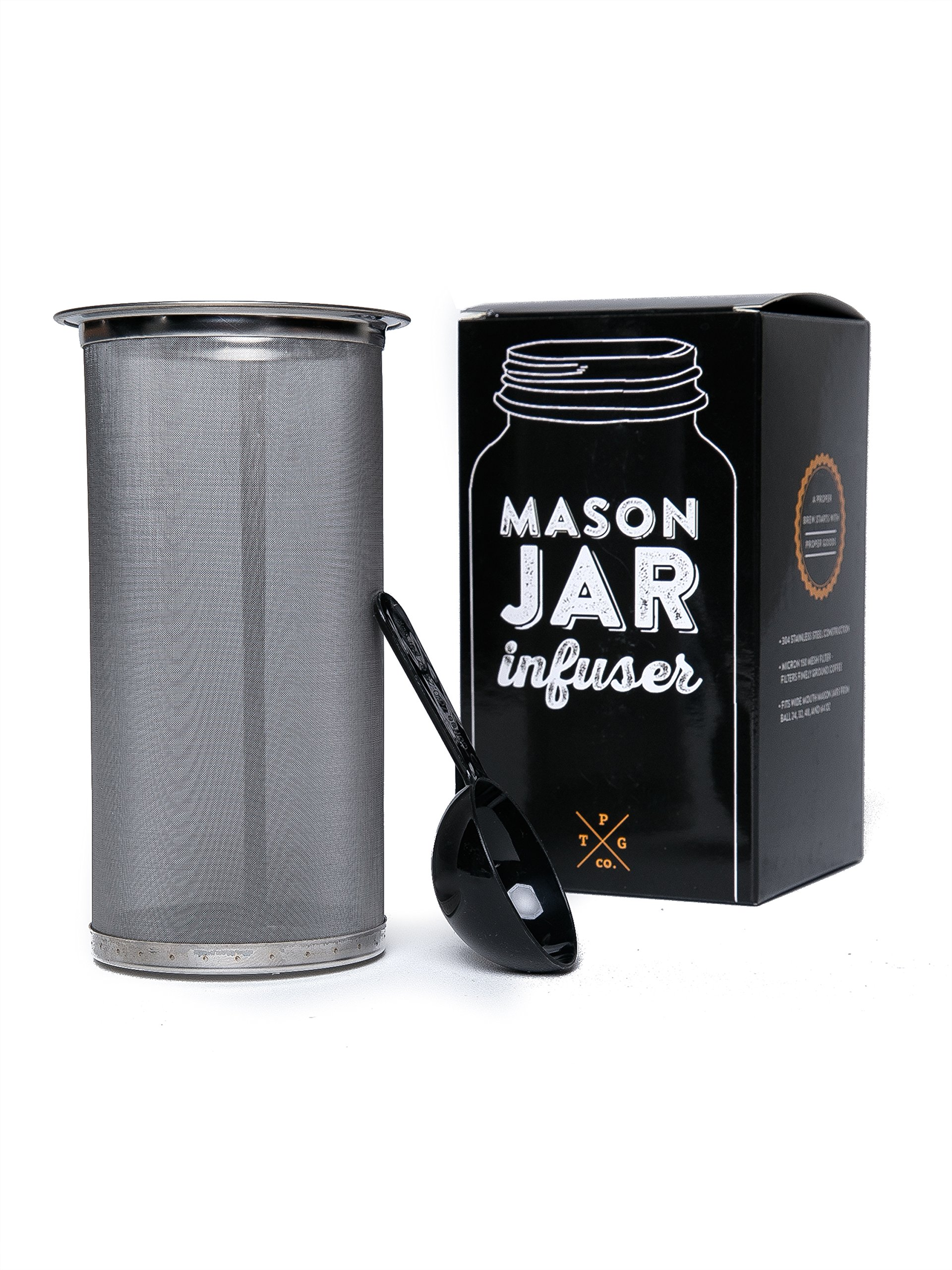 Mason Jar Infuser Filter Fits All Wide Mouth Jar - Cold Brew Coffee Tea Maker At Home - Free Spoon - 150 Micron Mesh - 304 Stainless