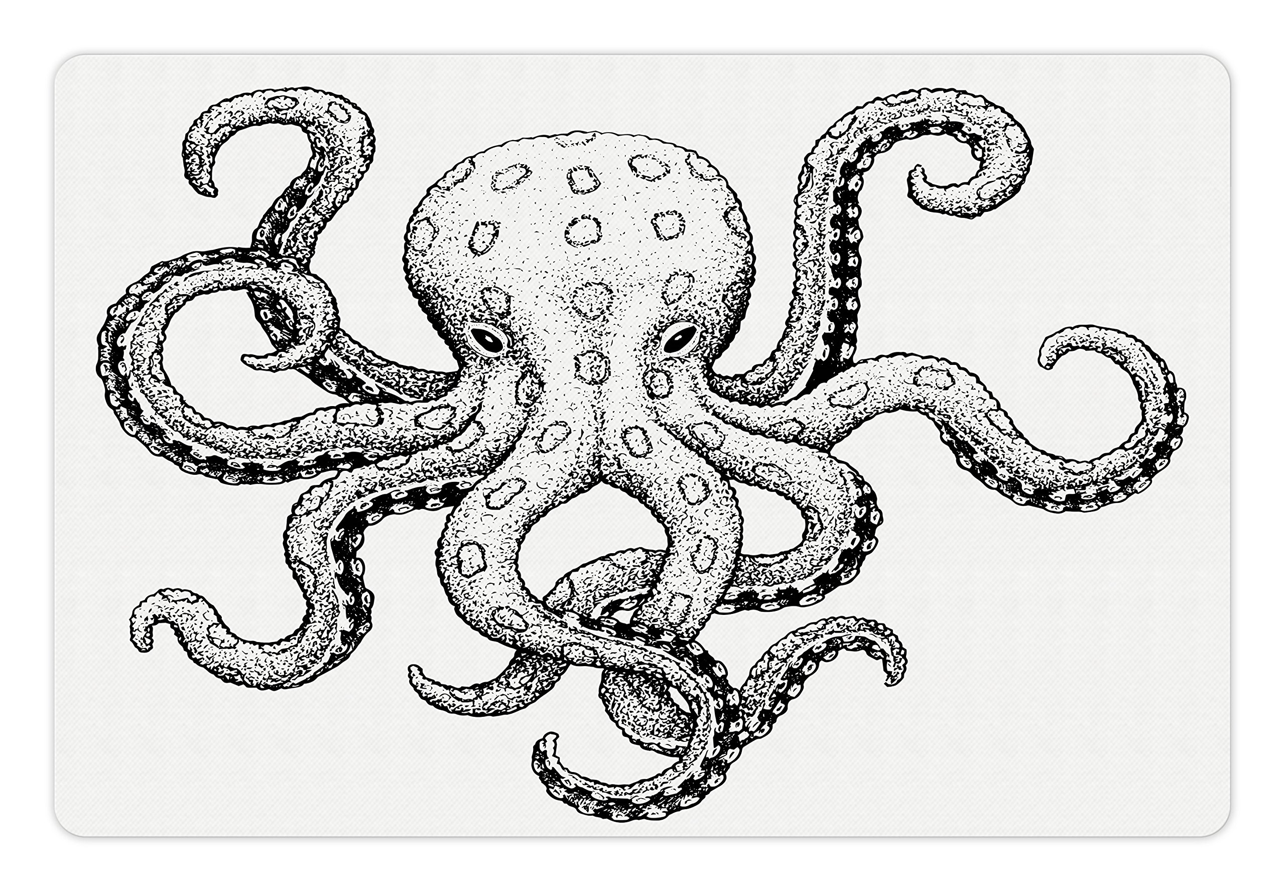 Ambesonne Octopus Pet Mat for Food and Water, Classic Drawn Ink Illustration Wild Marine Animal with Swirling Tentacles, Rectangle Non-Slip Rubber Mat for Dogs and Cats, Black and White