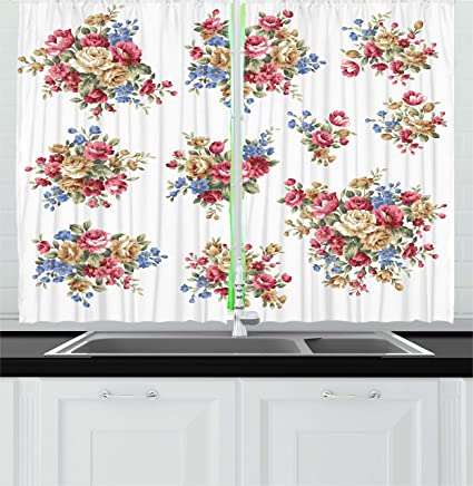 Merveilleux Ambesonne Floral Kitchen Curtains, Vintage Rose Flower Bouquets Romance  Love Wedding Themed Nostalgic Image,