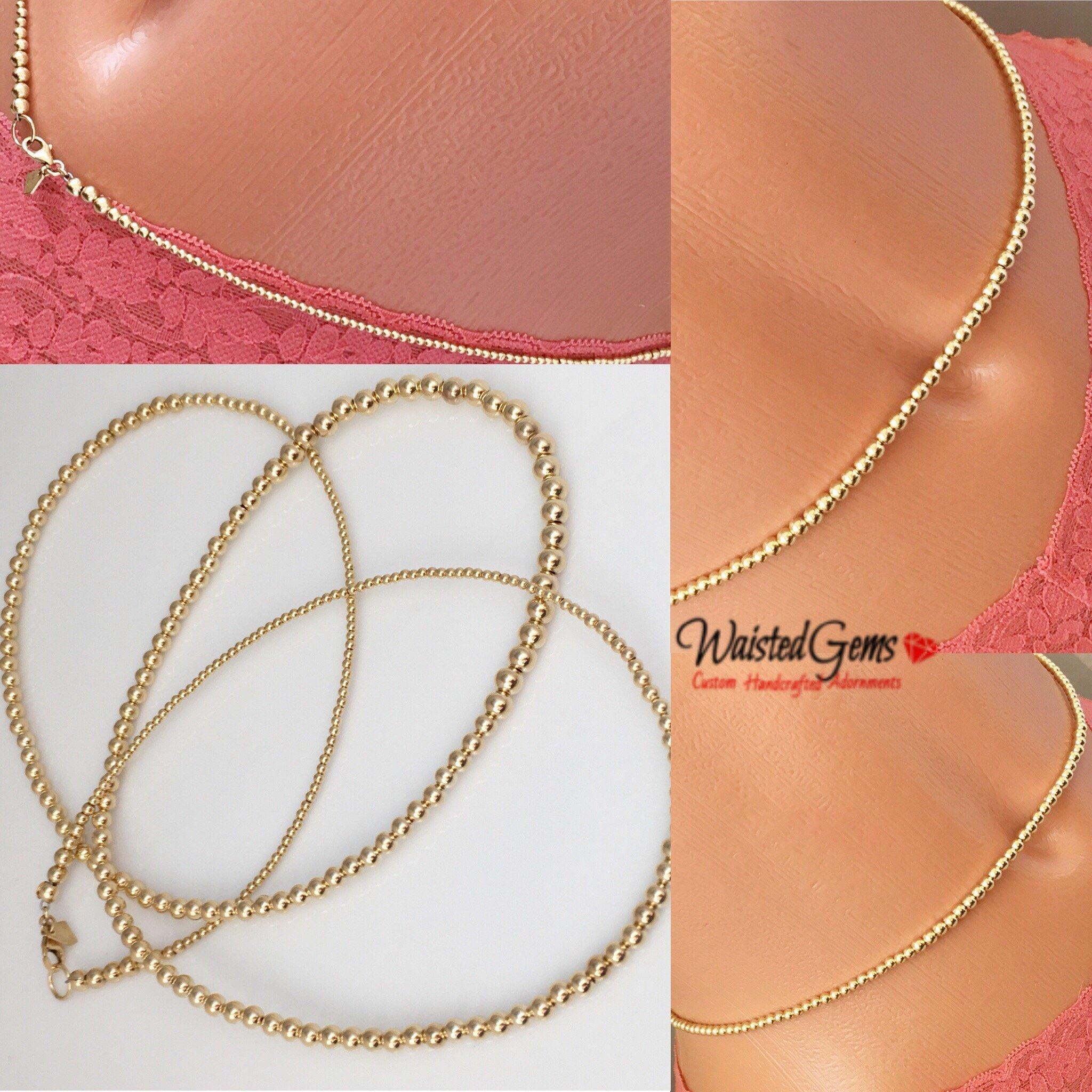 14k Gold Waist Beads, Wedding Gift, African Waist Beads, Waist Beads, Sale, 14k bead necklace, crop top, body chain, Gifts for her, African Jewelry, Summer Jewelry, Beach Wear,