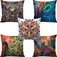 """Aerohaven Decorative Hand Made Digitally Printed Abstract 5 Piece Cotton Cushion Cover - 12"""" x 12"""", Multicolour"""