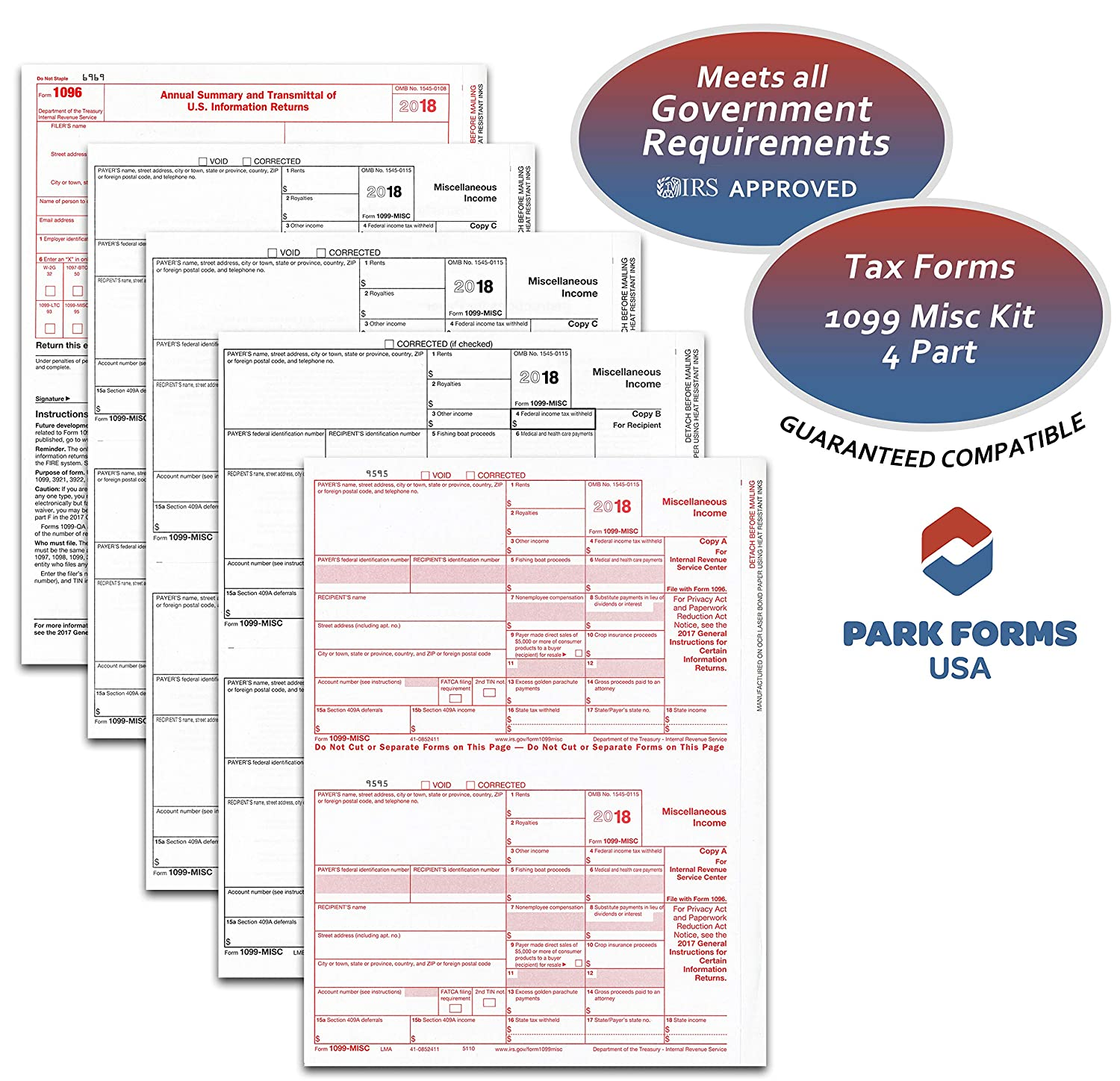 Amazon 2018 Laser Tax Forms 1099 Misc Income 4 Part Set