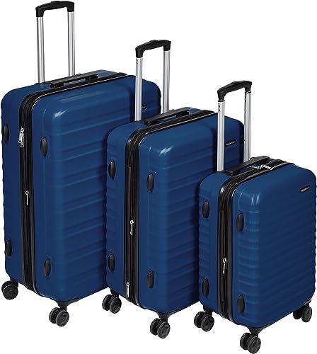 AmazonBasics Hardside Spinner, Carry-On, Expandable Suitcase Luggage with Wheels, Navy Blue – 3-Piece Set