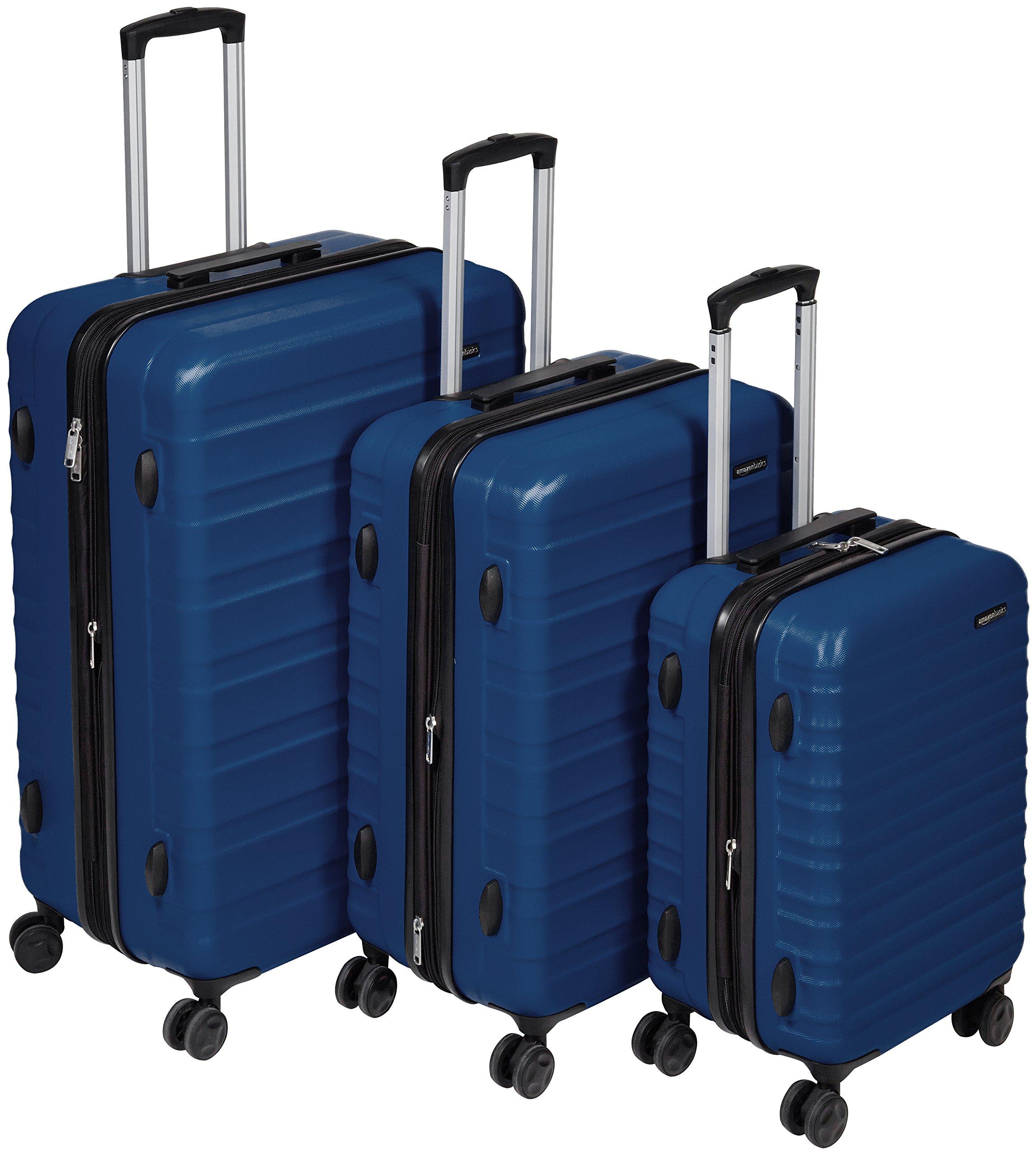 AmazonBasics Hardside Spinner Luggage - 3 Piece Set (20'', 24'', 28''), Navy