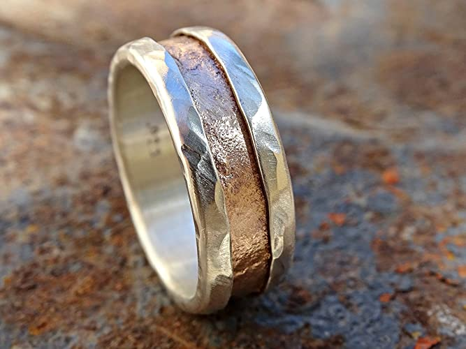 Amazon.com: mens personalized ring mixed metal, rustic two tone ring ...
