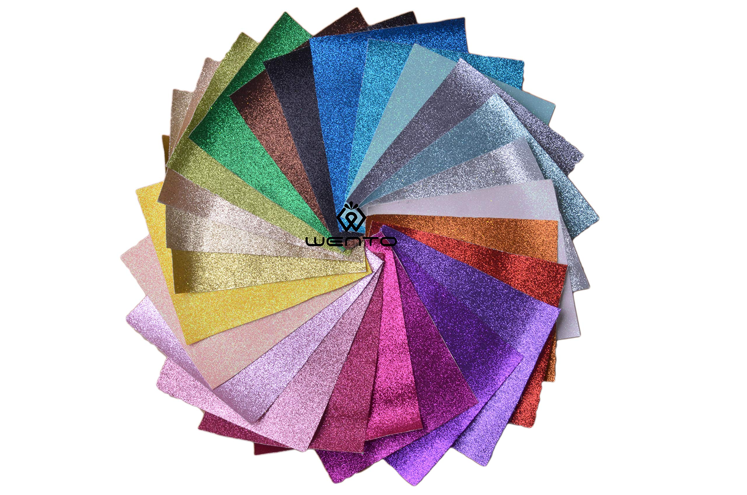 WENTO Assorted Colors 25pcs 8'' x 12'' (20cm x 30cm) Sparkly Superfine Glitter Fabric,glitter fabric sheets For Patchwork Sewing DIY Craft Glitter Fabric Convas on reverse