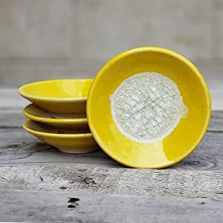 product image for Geode Ring Dish in Canary, Individual Geode Ring Dish, Fused Glass Dish, Trinket Dish, Soap Dish, Crackle Glass, Candle Holder, Dock 6 Pottery, Kerry Brooks Pottery