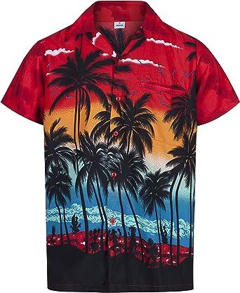 Redstar Fancy Dress - Camisa Hawaiana de Manga Corta - para Hombre - Palmeras - Todas Las Tallas - Rojo - 3XL: Amazon.es: Ropa y accesorios