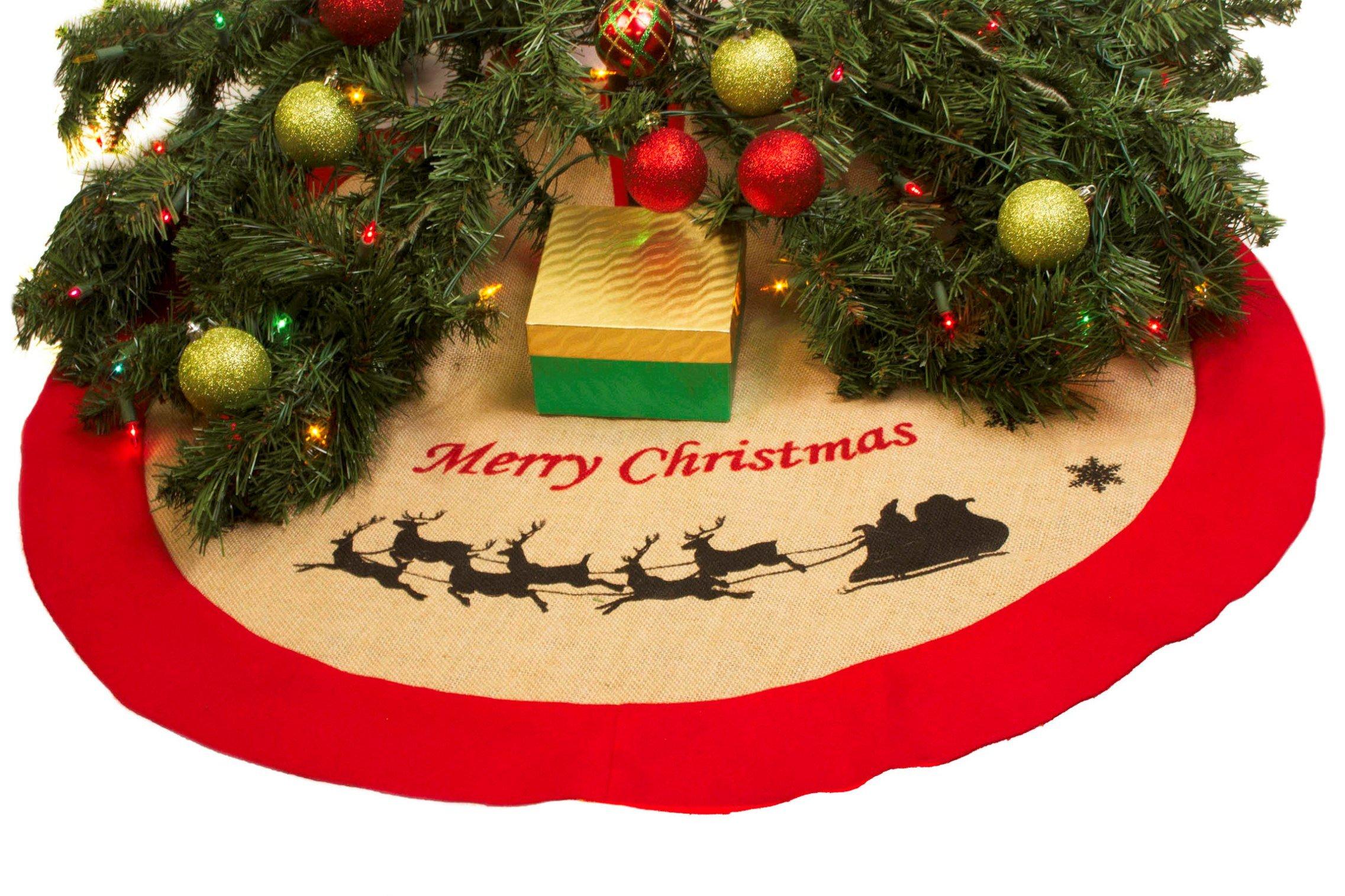 36'' Burlap Christmas Tree Skirt - Xmas Tree Skirt - Red Border Burlap Tree Skirt (Santa & Sleigh)