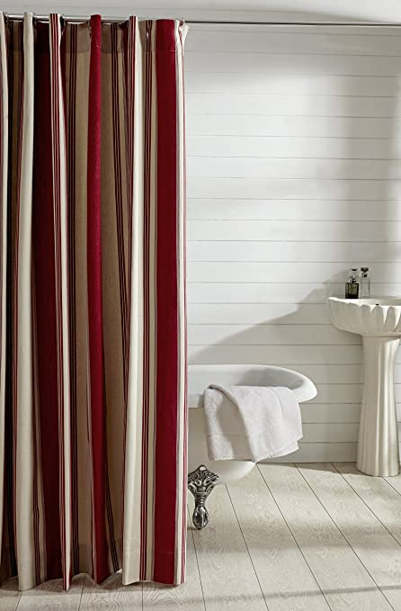 Amazon Be You Tiful Home Camden Stripe Shower Curtain Red