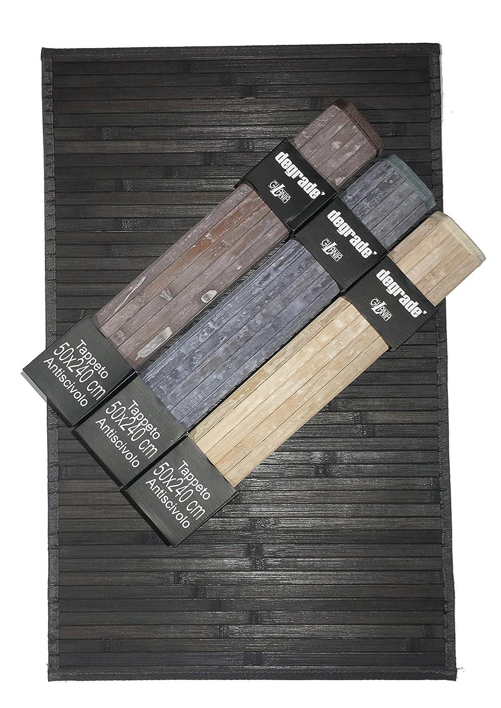 Tappeto in Bamboo da cucina con retro antiscivolo.Effetto Degrade'. Misura 50x80cm. Colore Beige. Gilania