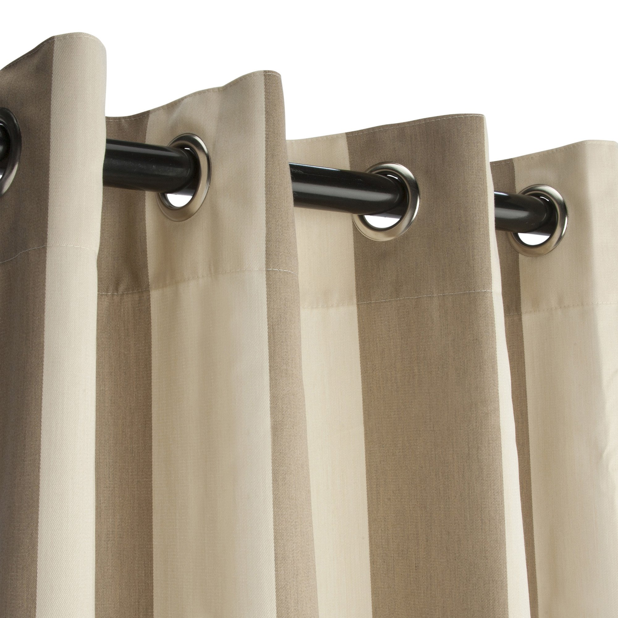 Sunbrella Outdoor Curtain Panel, Nickel Grommet Top, 50 by 120 Inch, Regency Sand (Available in Multiple Colors and Sizes) Includes Custom Storage Bag; Perfect For a Patio, Porch, Gazebo, or Pergola