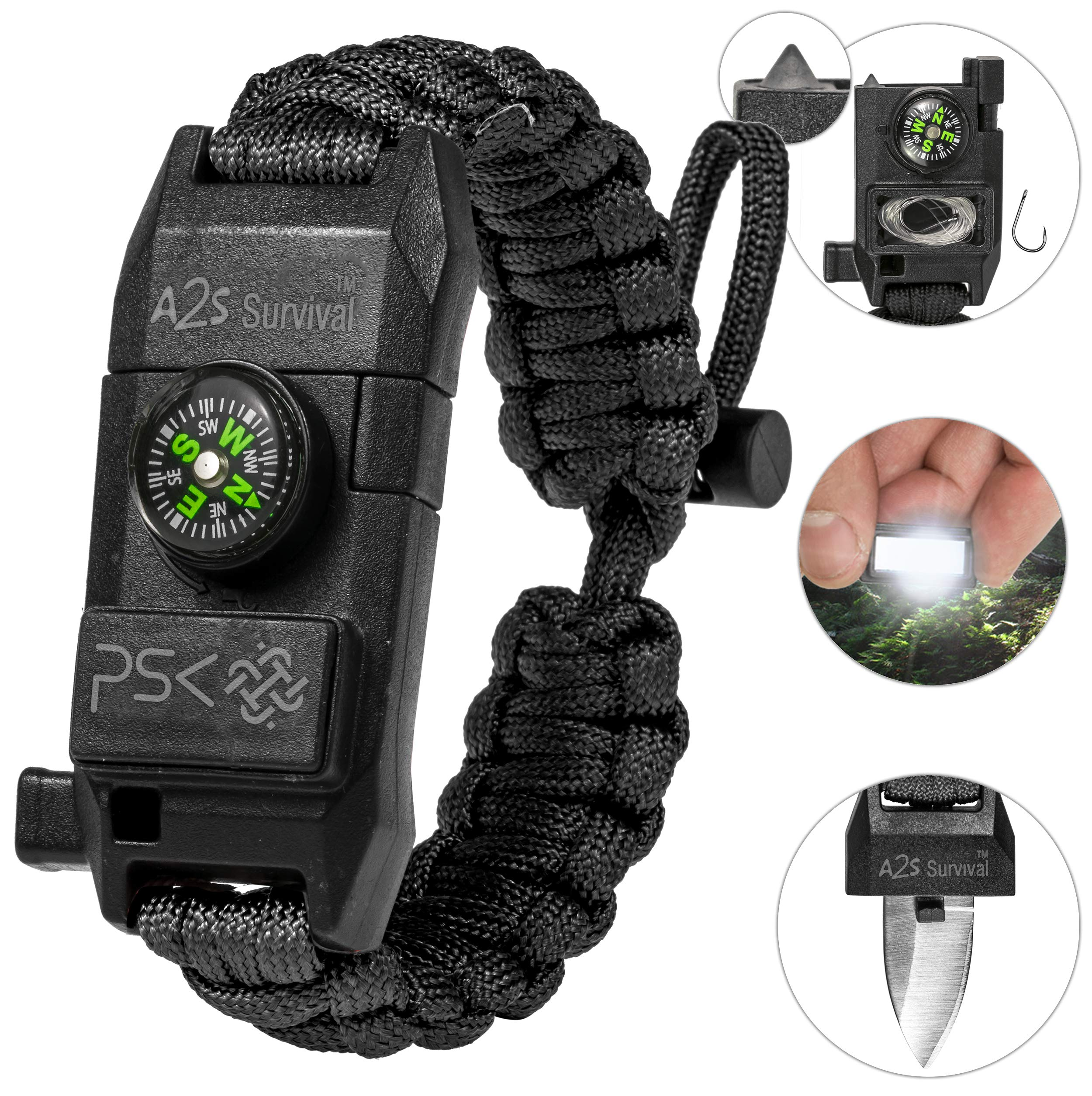 Protection PSK Paracord Bracelet 8-in-1 Personal Survival Kit Urban & Outdoors Survival Knife, Fire Starter, Glass Breaker, Survival Whistle, Signal Mirror, Fishing Hook & String, Compass Price: $9.99