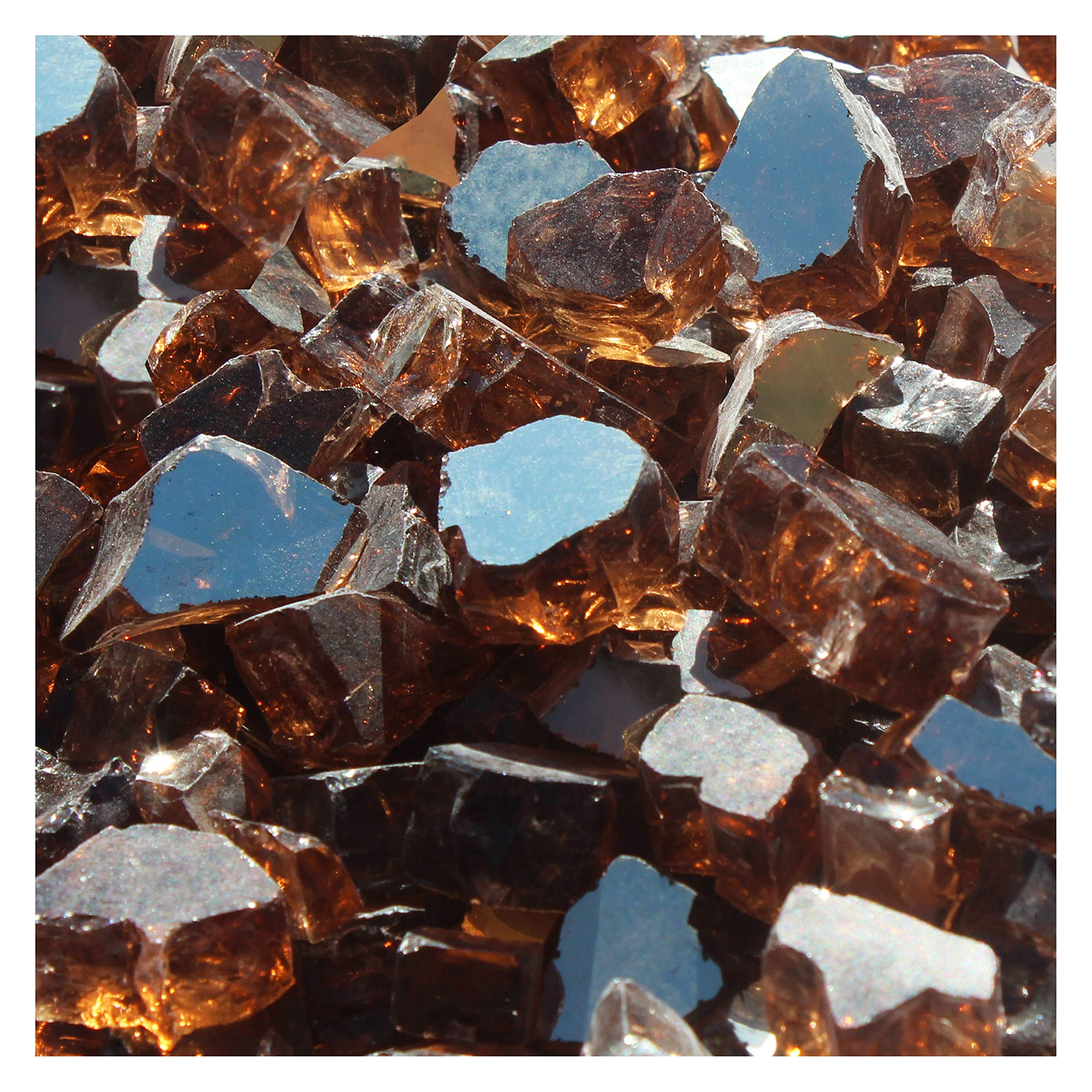 Blue Ridge Brand&Trade; Copper Reflective Fire Glass - 50-Pound Professional Grade Fire Pit Glass - 1/2'' Reflective Fire Pit Glass Bulk Contractor Pack by Blue Ridge Brand