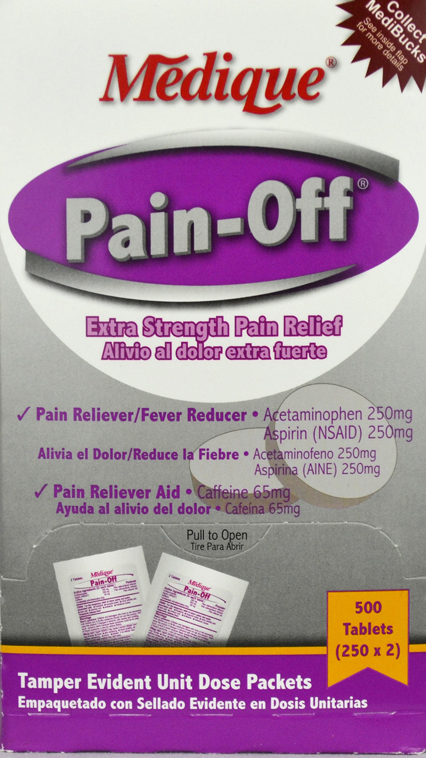 Pain-Off Extra Strength Pain Reliever Tablets (500 Tab. /Box) 6 Boxes (3000 tablets) by Medique - MS71175 by Medique