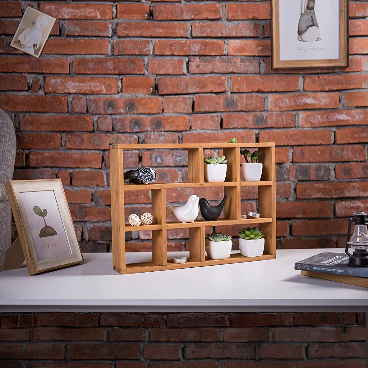 15 Inch Wall Mount (Vertical or Horizonal) 9 Slot Rustic Wood Floating Shelves / Freestanding Shadow Box