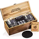 Whiskey Stones Gift Set for Men | Whiskey Glass and Stones Set with Wooden Box, 6 Granite Whiskey Rocks Chilling Stones and 1
