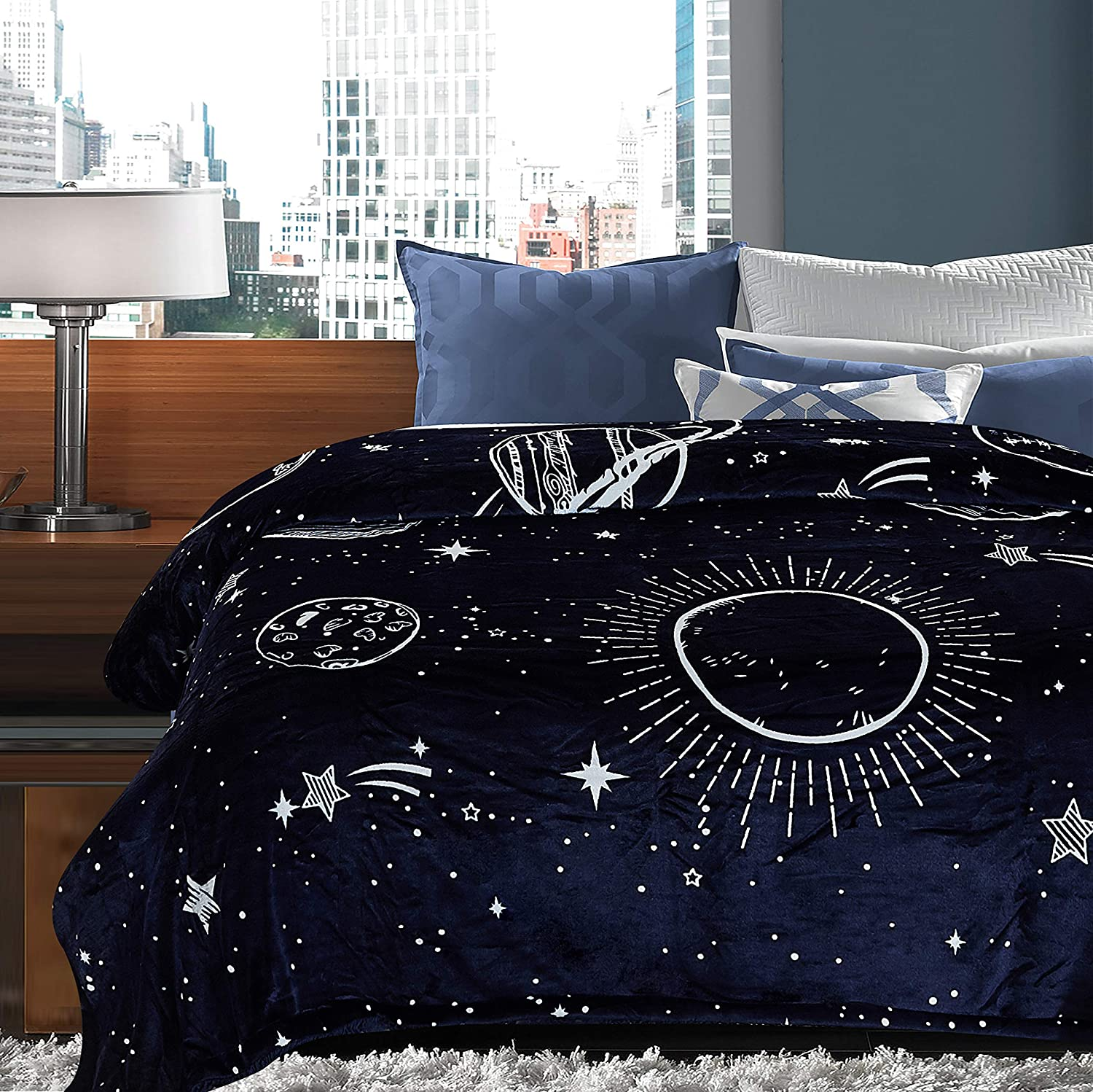Chanasya Solar System Galaxy Star Space Print Gift Throw Blanket- Featuring Nine Planets Orbiting The Sun Including Pluto Reversible for Bed Couch Birthday (Queen) Navy