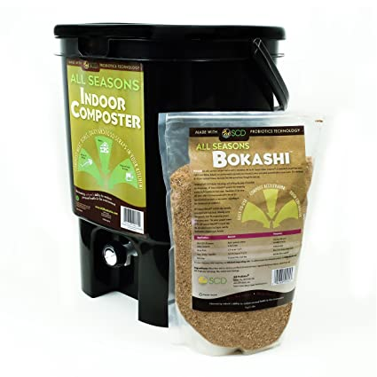 SCD Probiotics K101 All Seasons Indoor Composter Kit, Black Bucket/Bokashi