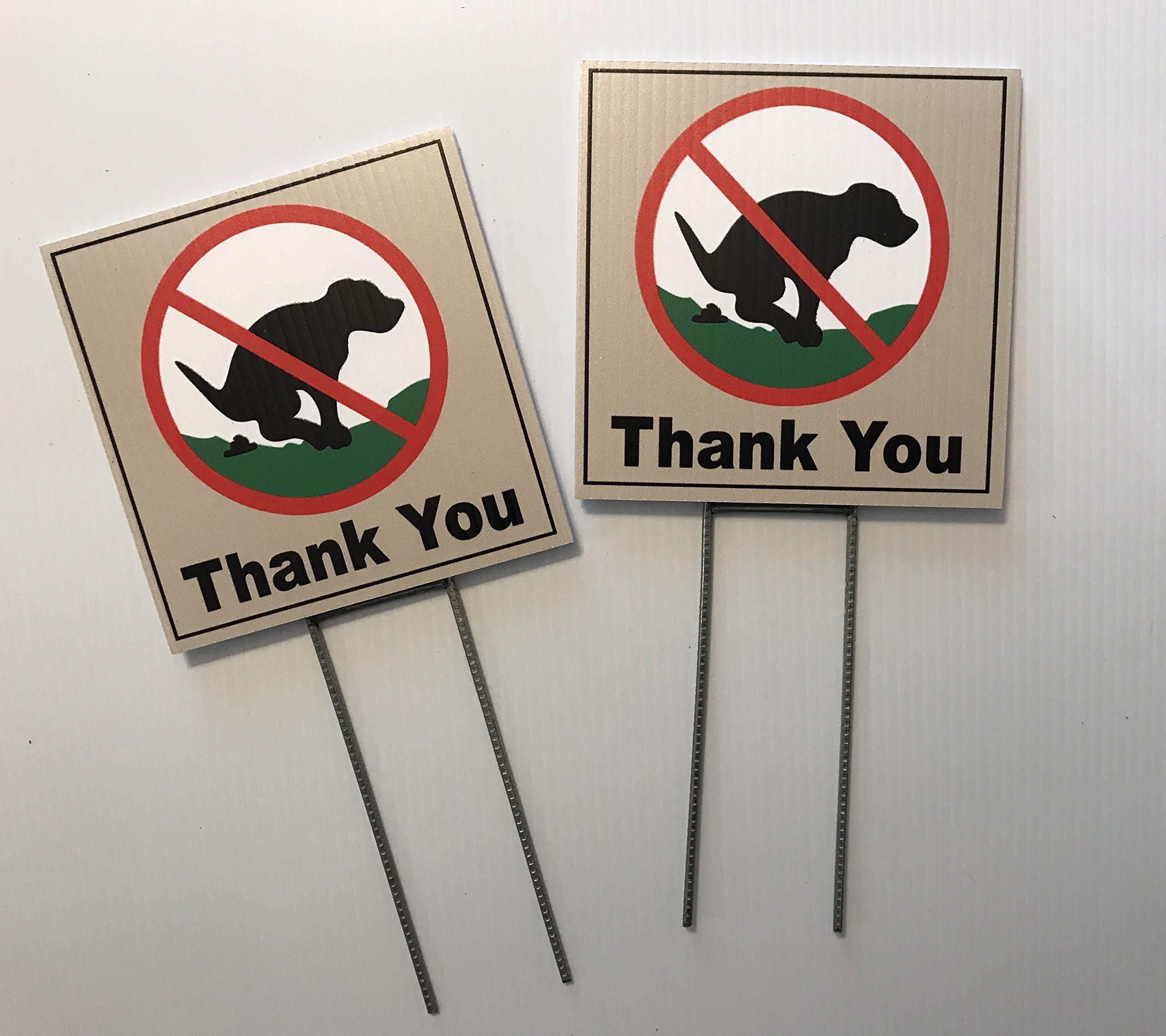 2 Signs, No Pooping, Dog Poop Yard Sign, Thank You