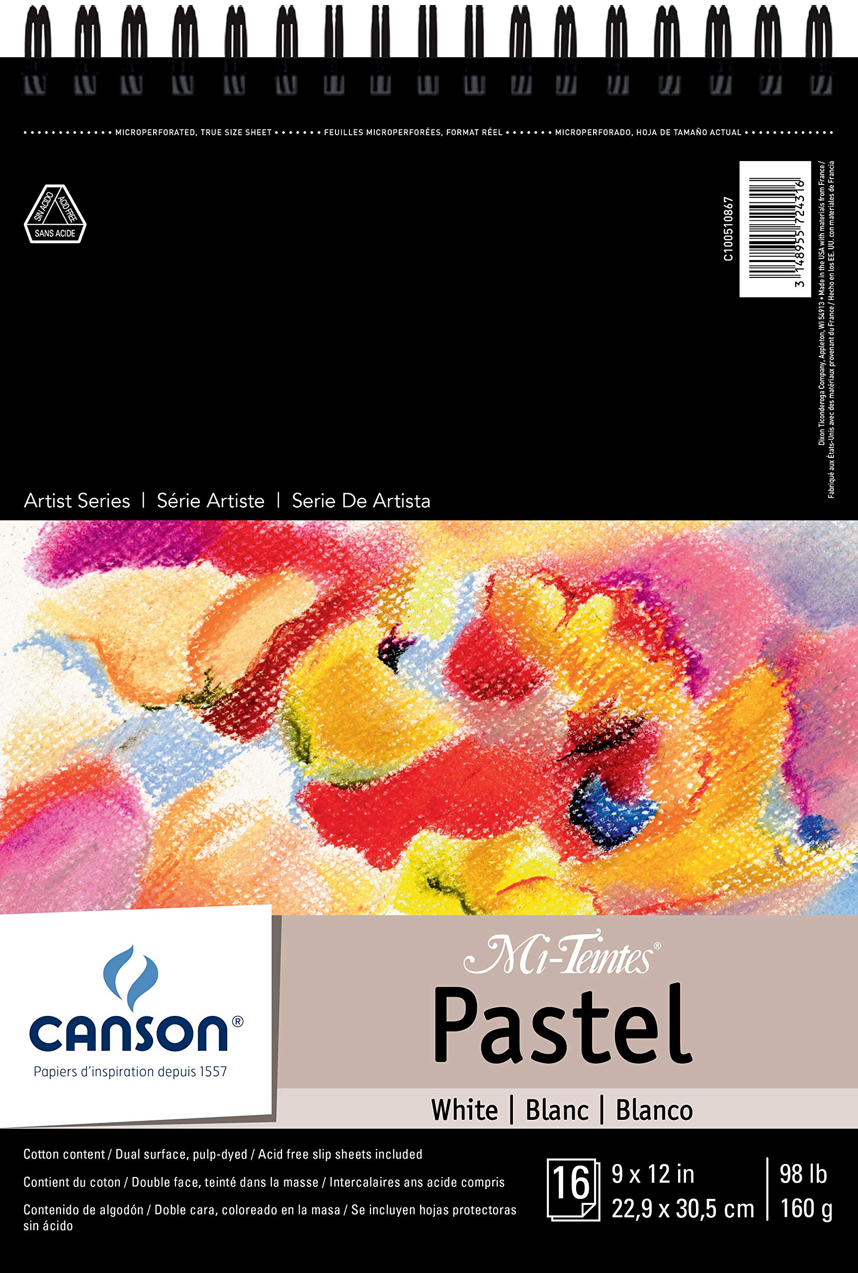 Canson Mi-Teintes Pastel Paper Pad, White with Glassine, Dual Sided Light and Heavy Texture, Top Wire Bound, 98 Pound, 9 x 12 Inch, White, 16 Sheets by Canson