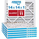 "Aerostar Allergen & Pet Dander 14x14x1 MERV 11 Pleated Air Filter, Made in the USA, (Actual Size: 13 3/4""x13 3/4""x3/4…"
