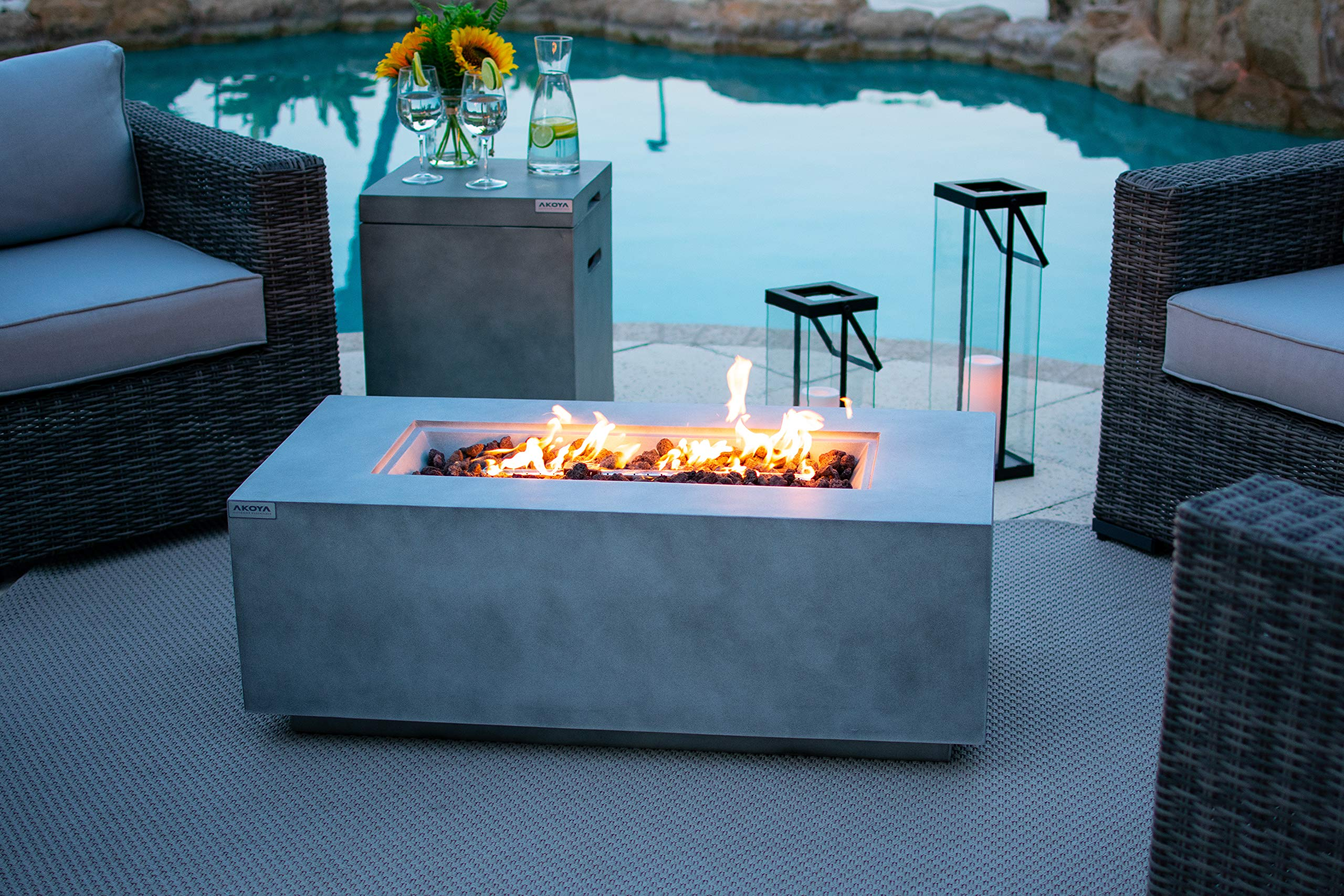 AKOYA Outdoor Essentials 42'' Fiber Concrete Rectangular Outdoor Propane Gas Fire Pit Table in Gray by AKOYA Outdoor Essentials