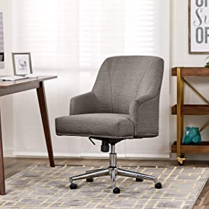 "Serta ""Leighton"" Home Office Chair, Soft Medium Gray"